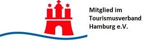 Logo Mitglied im Tourismusverband Hamburg e.V. mit roter Burg